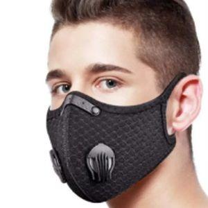 Black Double Air Valve Mask Reusable Respirator